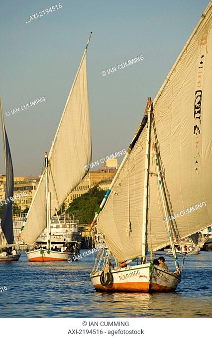 Feluccas and other boats on River Nile near Aswan; Egypt
