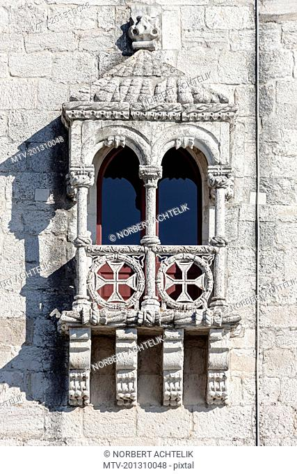 Window balcony of historical building, Lisbon, Portugal