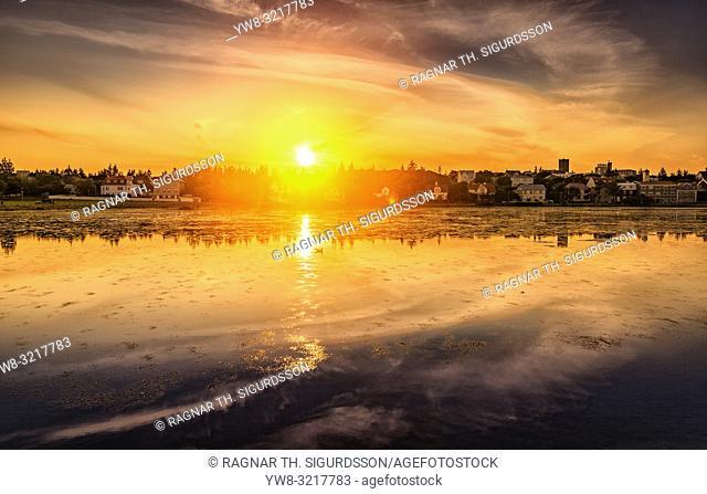 Sunset, Reykjavik Pond, Summer Festival, Cultural Day, Reykjavik, Iceland