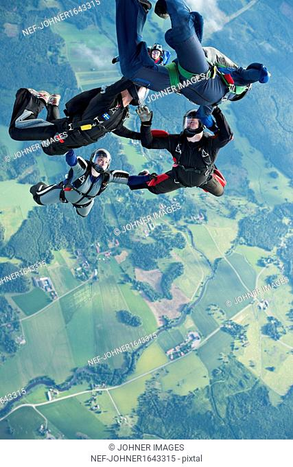 Skydivers in mid-air
