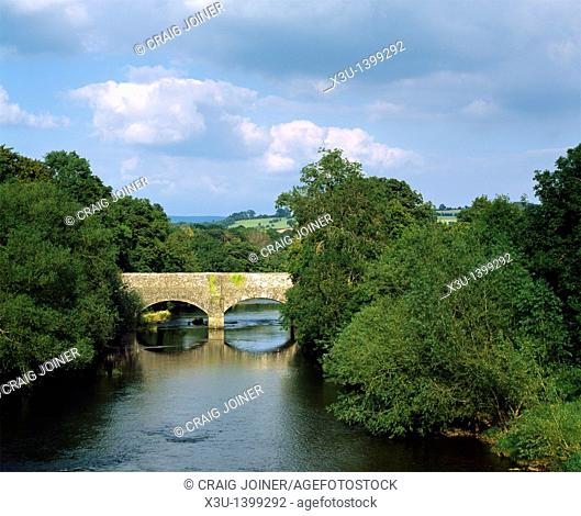 Brynich aqueduct carrying the Monmouthshire and Brecon Canal over the River Usk near Brecon, Powys, South Wales, United Kingdom