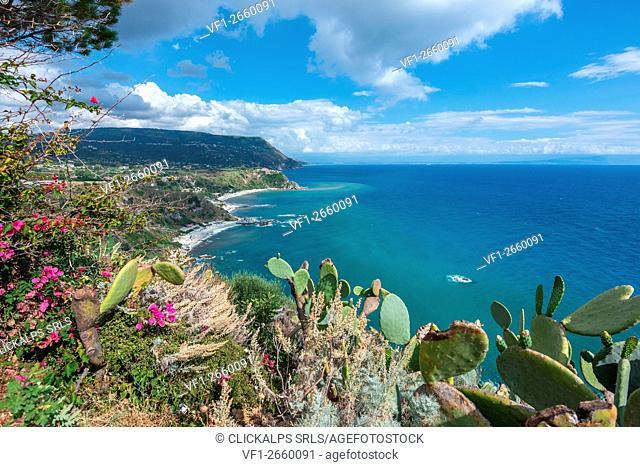 Capo Vaticano, Vibo Valentia, Calabria, Italy. View from Capo Vaticano to the beach of Grotticelle