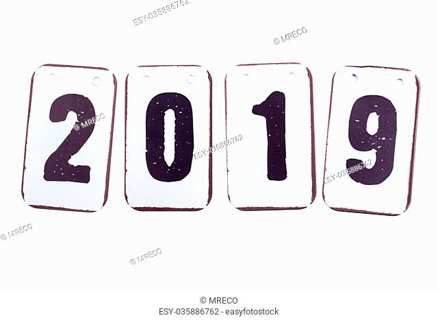 Year 2019 date in metal tiles isolated