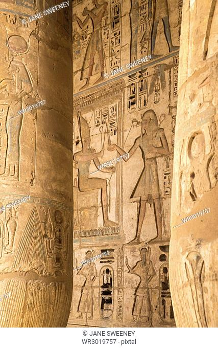 Columns in the portico of the Second Court, Temple of Ramesses III at Medinet Habu, West Bank, UNESCO World Heritage Site, Luxor, Egypt, North Africa, Africa