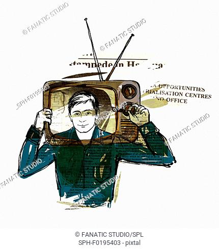 Illustration of news reader with head in television