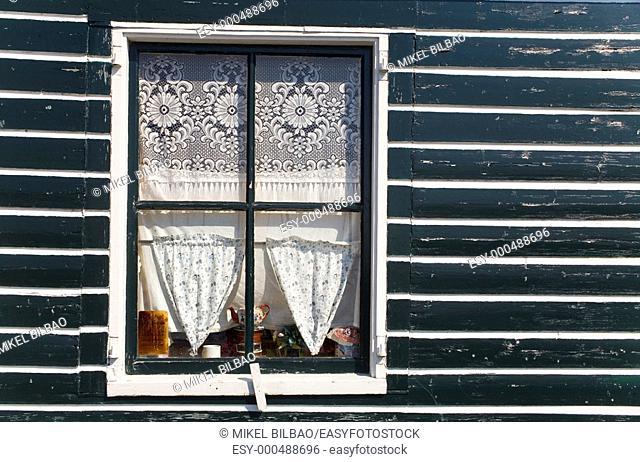 Window in a wooden house  Marken, Netherlands, Holland, Europe