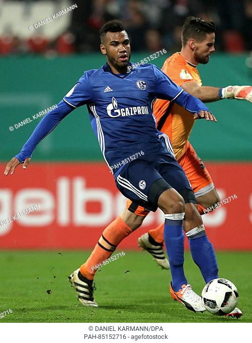 Eric Maxim Choupo-Moting from FC Schalke 04 in action during the 2nd Round DFB Pokal soccer match between FC Nuernberg and FC Schalke 04 in the Grundig Stadium...