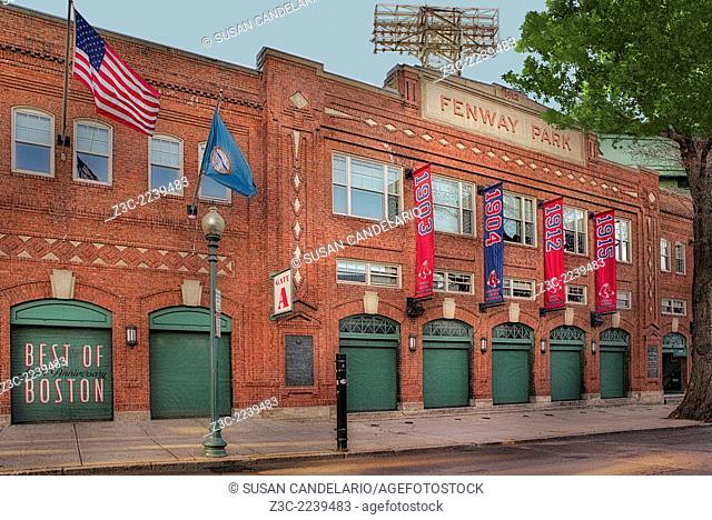 Fenway Park at Yawkey Way in Boston, Massachusetts, Gate A entrance to the baseball stadium with the Best of Boston sign on one of the gates