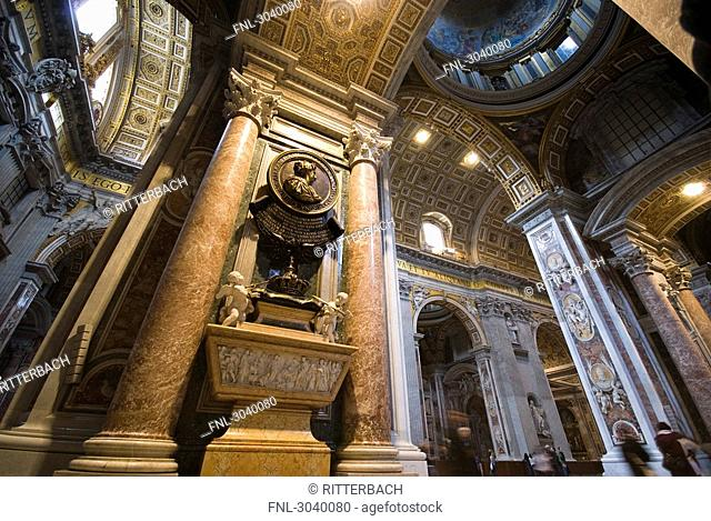 Interior view of St. Peters Basilica, Rome, Vatican City, view from below