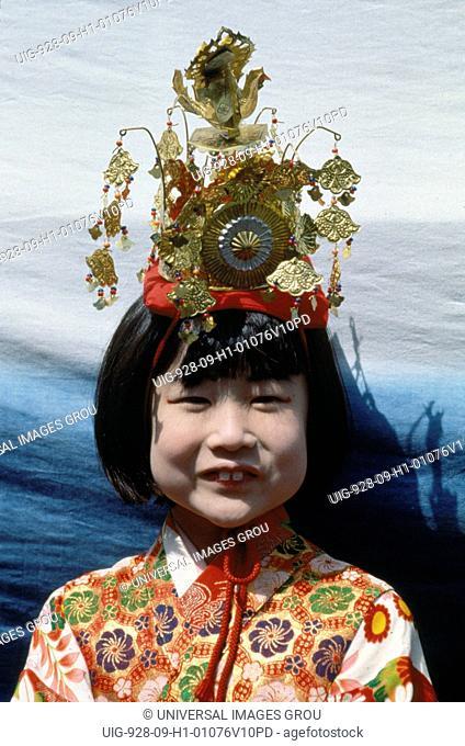 Japan, Takayama. Portrait Of Little Girl In Traditional Festival Dress
