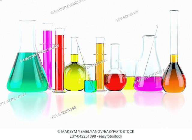 Laboratory glassware test glass flasks and tubes with solution isolated on white background. Science chemistry and research concept. 3d illustration