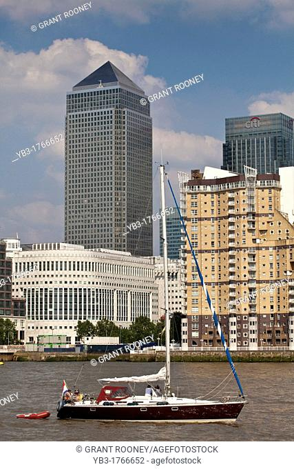 Canary Wharf Financial District and Tall Ship, London, England, Kingdom, Europe