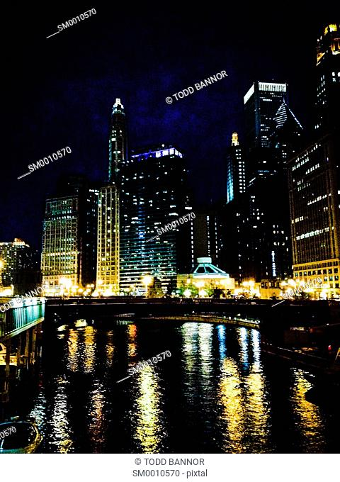 Chicago River viewed from Dearborn Street Bridge looking east at night