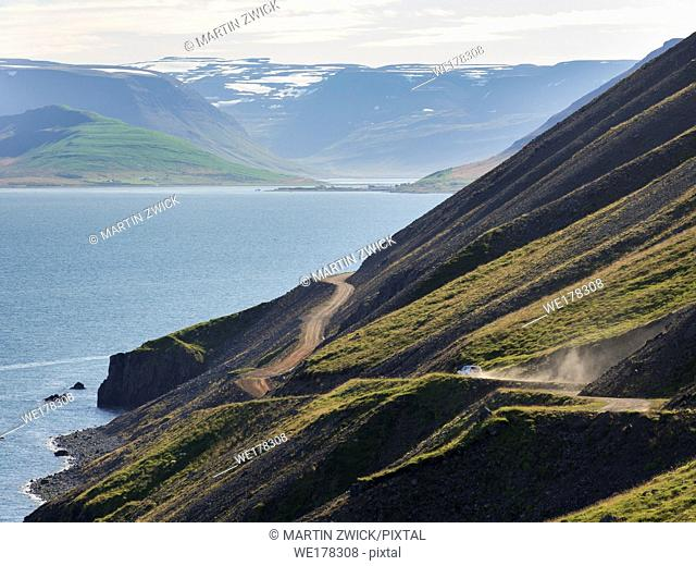Landscape at fjord Dyrafjoerdur. The remote Westfjords (Vestfirdir) in north west Iceland. Europe, Scandinavia, Iceland