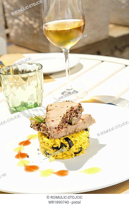 Tuna Steak on Rice with Saffron