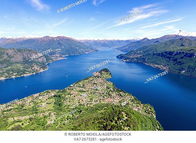 Aerial view of the village of Bellagio frames by the blue water of Lake Como on a sunny spring day Lombardy Italy Europe