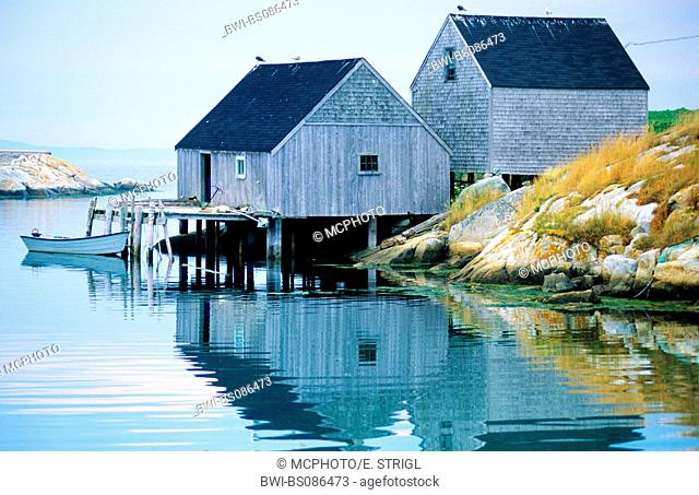 fishing cabins in Peggys Cove, Canada, Nova Scotia