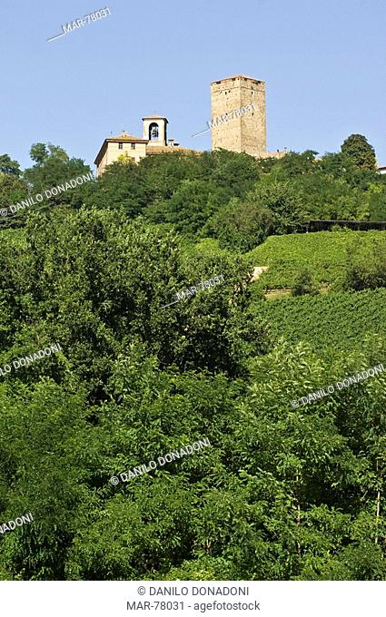 village and tower, soriasco, italy