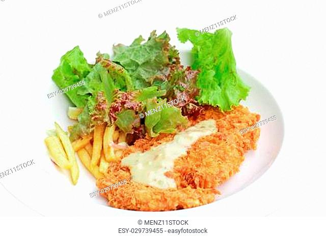 a photo of deep fried chicken steak with tomato fried and salad,isolated on white background
