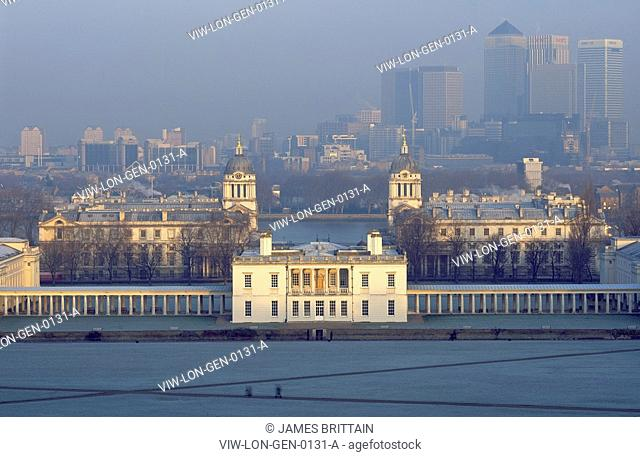 QUEEN'S HOUSE, NATIONAL MARITIME MUSEUM, GREENWICH, LONDON, SE10 GREENWICH, UK, LONDON GENERAL VIEWS, EXTERIOR, MORNING WINTER VIEW