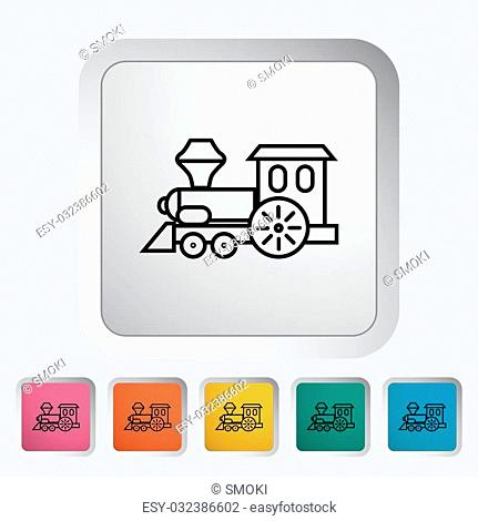 Train toy thin line flat vector related icon set for web and mobile applications. It can be used as - pictogram, icon, infographic element