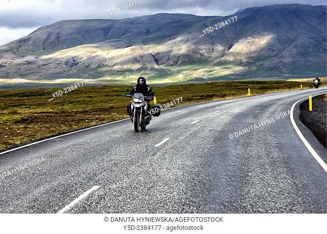 Europe, Iceland , Southwestern Iceland, motorcyclists riding Road number 360 from Nesjavellir to Thingvellir