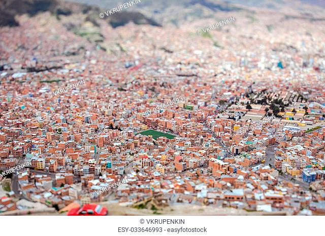 View from the mountains to the Lapaz, tilt shift