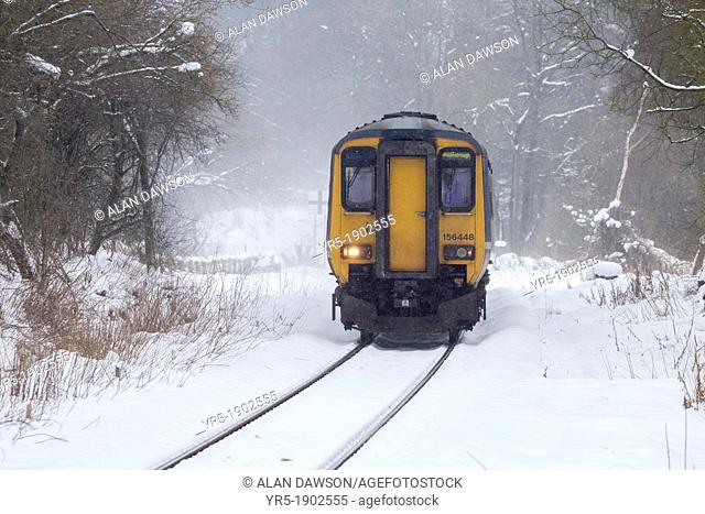 Train from Whitby to Middlesbrough on the picturesque Esk Valley Line approaching Kildale station in snow  Kildale, North York Moors National Park