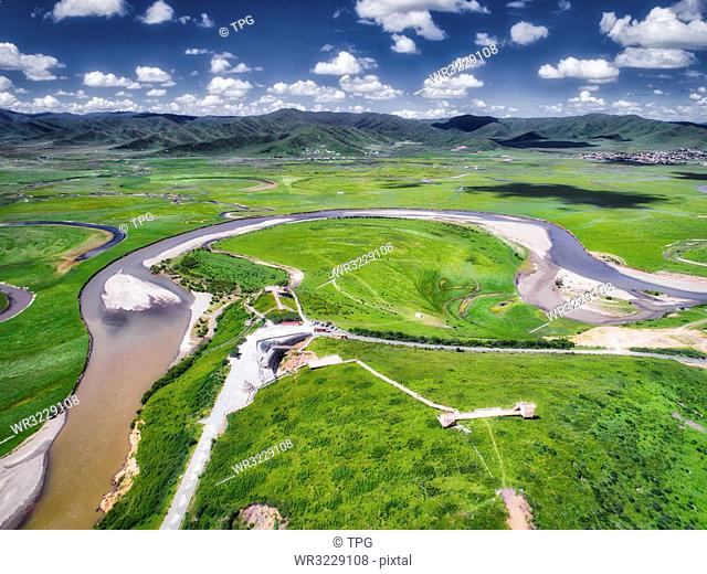 aerial photography of Xiahalama country;Sichuan Province;China