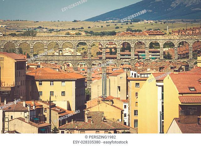 Roman aqueduct bridge of Segovia, Castilla Leon, Spain