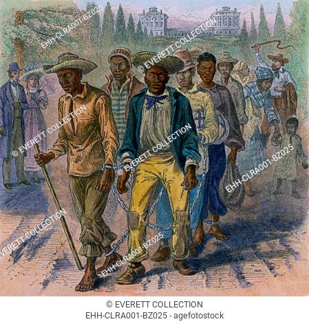 Image depicts an 1815 slave-coffle wearing handcuffs and shackles passing the United States Capitol. During the Civil War