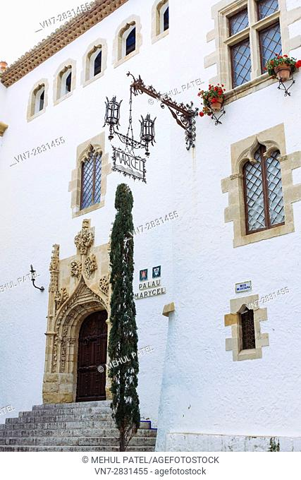 Palau de Maricel, Maricel Palace, Sitges, Catalonia, Spain, Europe. Palau de Maricel is one of the most important buildings of Sitges