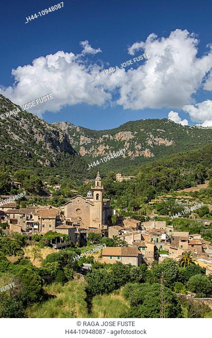 Mallorca, Balearics, Valldemosa, architecture, Chopin, church, city, island, landscape, Mediterranean, Spain, Europe, touristic, travel, valley