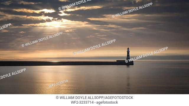 A calm North Sea at Roker in County Durham. in County Durham
