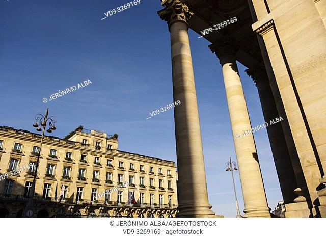 The National Opera and Grand Hotel de Bordeaux at historic center, Bordeaux. Aquitaine Region, Gironde Department. France Europe