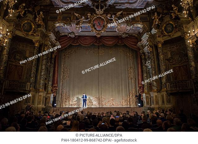 12 April 2018, Germany, Bayreuth: Markus Soeder (CSU), premier of Bavaria, gives a speech on the stage of the renovated opera house