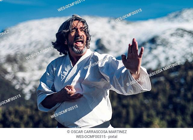 Senior man practicing karate outdoors