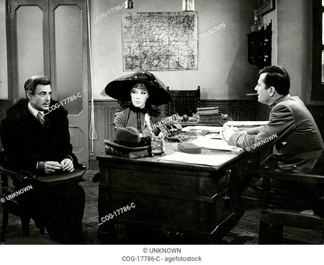 Italian actors Armando Francioli, Cosetta Greco and Gabriele Ferzetti in the TV fiction Matha Hari, Italy 1967