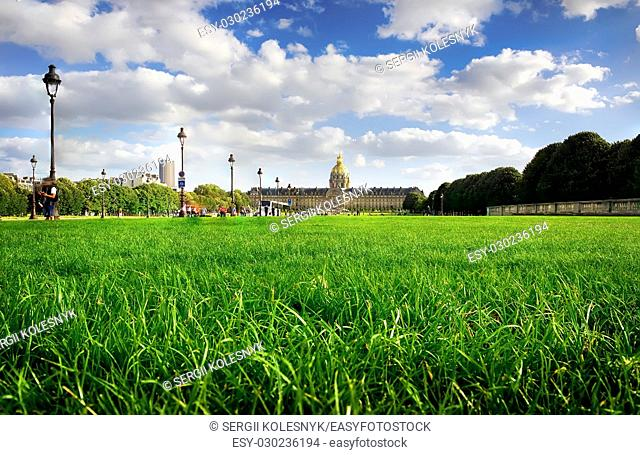 Lawn with green grass near Les Invalides in Paris, France