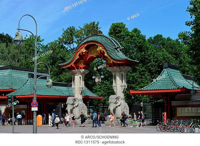 Elefantentor, Zoo, Budapester Strasse, Tiergarten, Mitte, Berlin, Deutschland