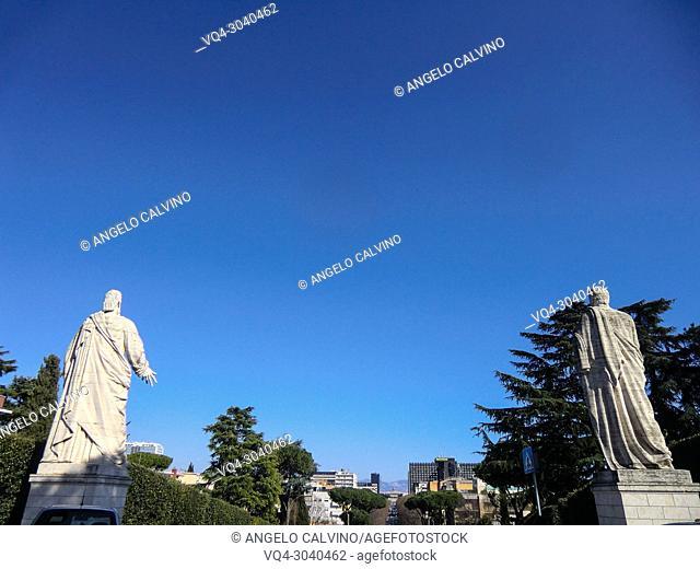 Stataues of St Peter and St Paul facing Viale Europa, Basilica dei Santi Pietro e Paolo, Church of St Peter & Paul, Arnaldo Foschini 1939 / 1955, Rome, EUR