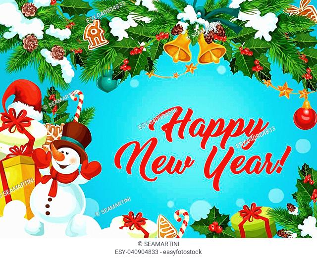Happy New Year best wishes greeting card design of Santa gifts, snowman and New Year decorations on Christmas tree. Vector gingerbread cookie and golden bells...