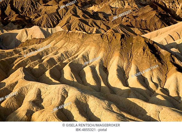Zabriskie Point, eroded rocky landscape, Death Valley National Park, California, USA