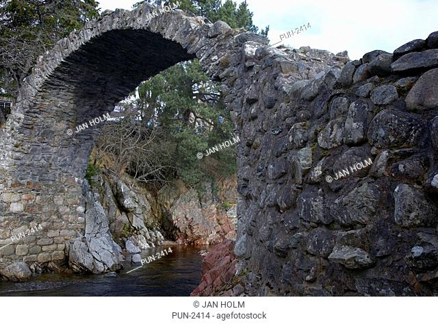 Ancient Stone Bridge at Carrbridge on the River Dulnain