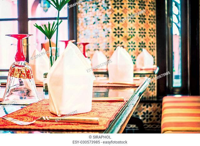 Selective focus point on Table set up for dinner - Vintage Filter