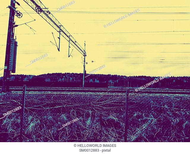 Railway tracks and overhead cable system, Sweden, Scandinavia