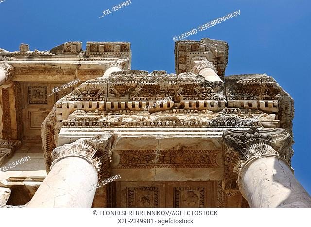 Ceiling fragment of the Celsus Library. Ephesus Archaeological Site, Izmir province, Turkey