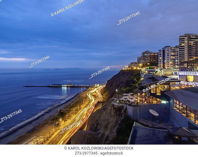 Larcomar Shopping Center at twilight, Miraflores District, Lima, Peru