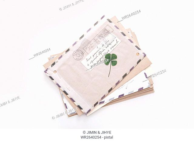 Letter with four-leaf clover