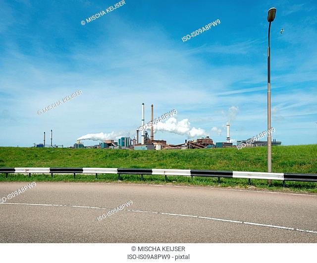 Distant view of steelworks, IJmuiden, Netherlands